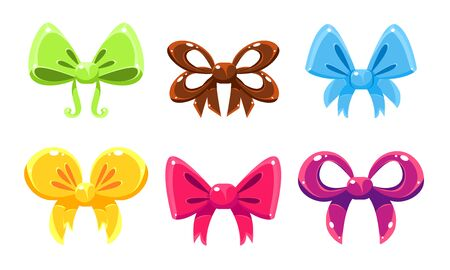 Bows Collection, Bright Bows Can Be Used for Decoration of Invitation or Greeting Cards, Gift Boxes, Holiday Party Vector Illustration on White Background.