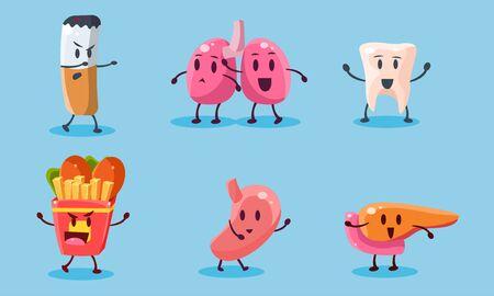Bad Habits Set, Destruction of Human Organs, Harmful Dependance of Cigarettes and Fast Food Vector Illustration on Light Blue Background. Illustration