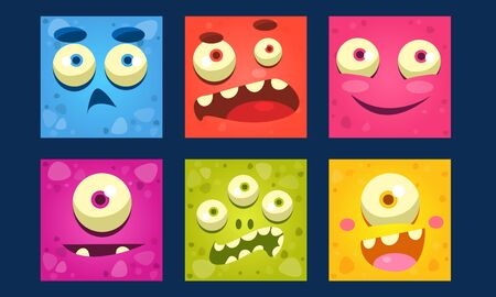 Funny Monsters Set, Colorful Mutant Emojis, Cute Emoticons Funny Faces Vector Illustration, Web Design. 向量圖像