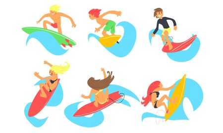 Male and Female Surfers Characters Riding Waves Set, Young People with Surfboards, Summer Extreme Water Sport Vector Illustration on White Background.