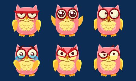 Funny Owls Characters Set, Cute Pink Birds with Various Emotions Vector Illustration on Blue Background.