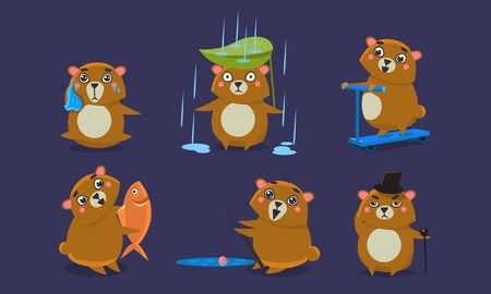 Cute Brown Guinea Pig Character Set, Funny Cavy Anima in Different Situations Cartoon Vector Illustration. 일러스트