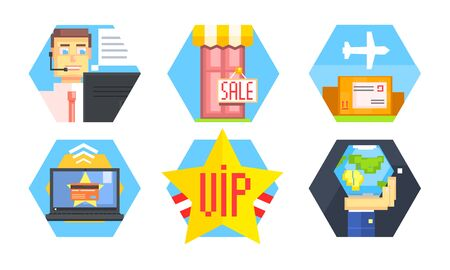 Online Shopping Icons Set, Delivery Service, E-commerce, Customer Support Service Vector Illustration Illustration
