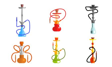 Hookah od Different Colors Set, Lounge Bar or Smoke Shop Design Element, Equipment for Vaporizing and Smoking Flavored Tobacco Vector Illustration on White Background.