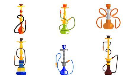 Hookah od Different Colors Set, Lounge Bar or Smoke Shop Design Element Vector Illustration on White Background. Stock Vector - 128446375