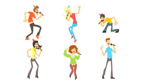 Cute Funny People Emotionally Singing with Microphone, Man and Woman Singing Karaoke at Party Vector Illustration on White Background.