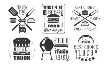 Food Truck Retro Templates Set, Fresh and Tasty Fast Food Vintage Labels Vector Illustration