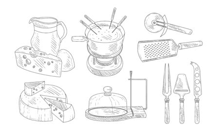 Tools for Chopping and Cutting of Cheese, Steel Knives Set, Cheese Fondue French Dish Vector Illustration Archivio Fotografico - 128541895