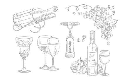 Wine Set, Hand Drawn Wine Objects, Bottle, Corkscrew, Glass, Grapes Vector Illustration