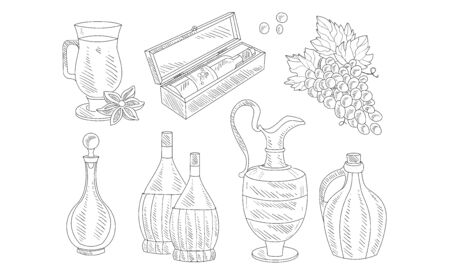 Wine Set, Hand Drawn Wine Objects, Various Bottles, Wineglass, Grapes Vector Illustration