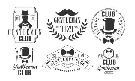 Gentleman Club Vintage Templates Set, Retro Fashion Club Emblems Vector Illustration