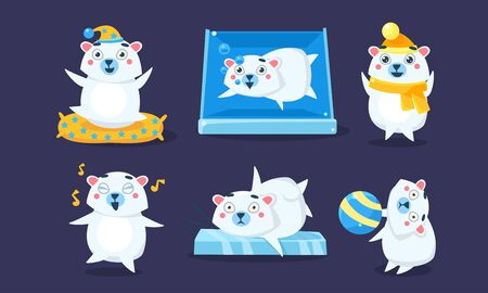 Cute White Guinea Pig Character Set, Funny Humanized Cavy Anima in Different Situations Vector Illustration