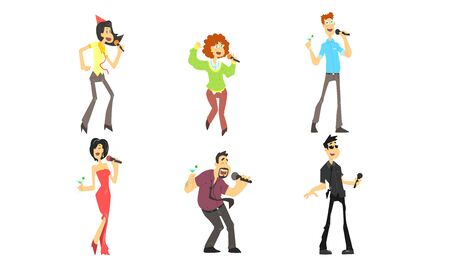 Funny People Emotionally Singing with Microphone, Man and Woman Singing Karaoke at Party Vector Illustration Illustration