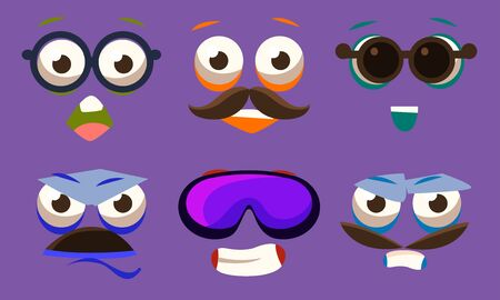 Funny Emojis with Different Emotive Feelings Set, Male and Female Emoticons with Various Face Expression Vector Illustration on Purple Background. Illustration