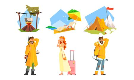 People Traveling Set, Active Travel, Man Hiking with Backpacks, Camping, Fishing, Girl Going on Summer Vacation with Suitcase Vector Illustration on White Background.