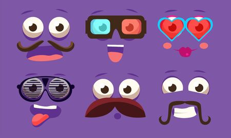 Funny Emojis with Different Emotive Feelings Set, Male and Female Emoticons with Funny Faces and Different Emotions Vector Illustration on Purple Background.