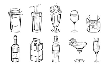 Hand Drawn Drinks Set, Alcoholic and Non Alcoholic Beverages, Coffee, Juice, Cocktails, Soda, Milk Monocrome Vector Illustration on White Background. Illustration