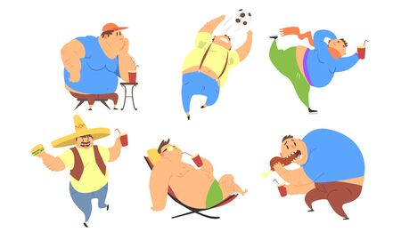 Fat Men Set, Bad Habits, Unhealthy Lifestyle of Overweight Persons Vector Illustration on White Background.
