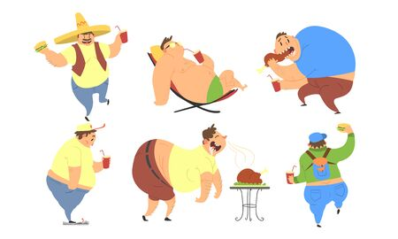 Funny Fat Men Set, Bad Habits, Unhealthy Lifestyle of Overweight Persons Vector Illustration on White Background.
