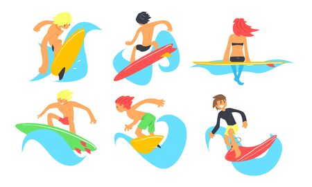 Surfers Characters Riding Waves Set, Young Man and Woman with Surfboards, Summer Extreme Water Sport Vector Illustration on White Background.  イラスト・ベクター素材