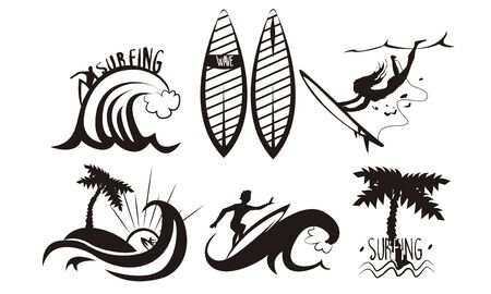 Surfers Silhouettes Set, Young Man and Woman Riding Waves with Surfboards, Summer Extreme Water Sport Elements Vector Illustration on White Background.