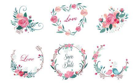 Blumenrahmen-Sammlung, Hochzeitseinladung, Save the Date Card Design Elemets, Kranz mit blühenden Blumen und Love Birds Vector Illustration Vektorgrafik