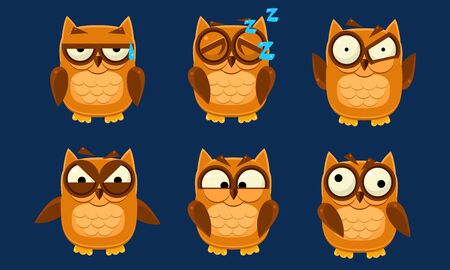 Funny Owls Characters Set, Cute Birds with Various Emotions Vector Illustration on Blue Background. 向量圖像
