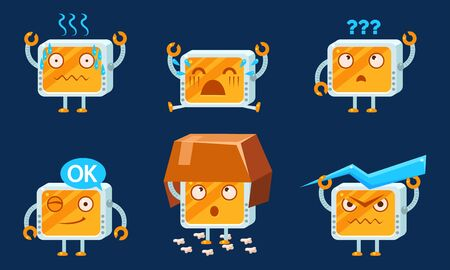 Funny Computer Monitors Characters Set, Cute Monobloc in Different Situations Cartoon Vector Illustration.