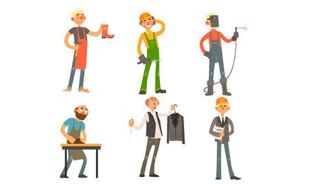 Men of Different Professions, Shoemaker, Builder, Welder, Carpenter, Tailor, Architect Vector Illustration on White Background. 일러스트