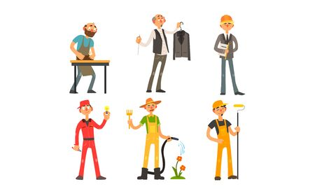 People of Different Professions, Carpenter, Tailor, Architect, Foreman, Electrician, Gardener Painter Vector Illustration on White Background