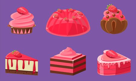 Delicious Sweets and Desserts Set, Ice Cream, Cake, Jelly, Cupcake, Roll Cake, Pudding Vector Illustration on Purple Background.