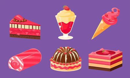 Delicious Sweets and Desserts Set, Ice Cream, Cake, Cupcake, Roll Cake, Pudding Vector Illustration on Purple Background.