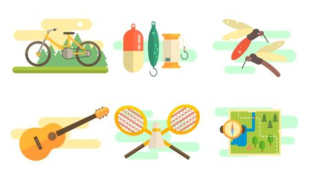 Tourist Equipment Set, Camping and Fishing Elements, Summer Outdoor Activities Vector Illustration on White Background.