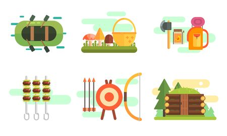 Tourist Equipment Set, Camping Elements, Summer Outdoor Activities Vector Illustration