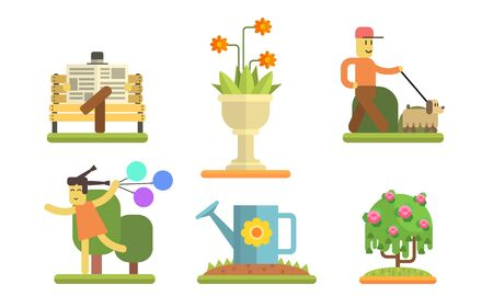 Park and Garden Elements Set, Man Walking with Dog, Girl Running with Colorful Balloons, Man Sitting on Bench and Reading Newspaper Vector Illustration on White Background. Illustration