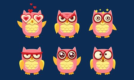 Owls Characters Set, Cute Birds with Various Emotions Vector Illustration on Blue Background. 向量圖像