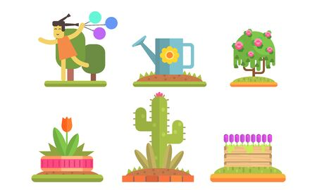 Park and Garden Floral Elements Set, Flowerbeds with Plants and Flowers, Girl Running with Colorful Balloons Vector Illustration on White Background. Illustration