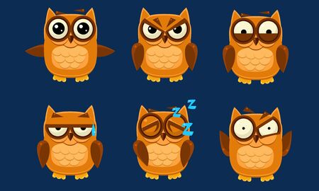 Funny Owls Characters Set, Cute Brown Birds with Various Emotions Vector Illustration on Blue Background.