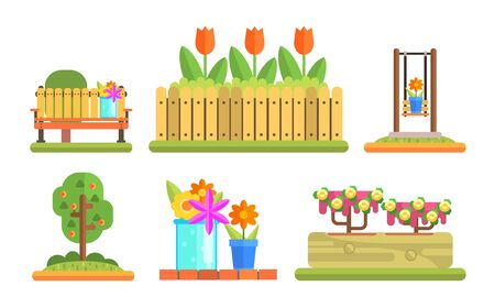Park and Garden Elements Set, Flowerbeds with Blooming Flowers and Plants, Wooden Bench Vector Illustration on White Background. Illustration