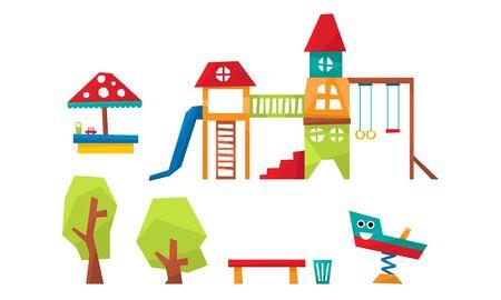 Kids Playground Elements Set, Sport and Recreation Ground Equipment, Slide, Ladder, Swing, Sandpit, Trees, Bench Vector Illustration on White Background.