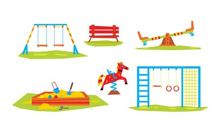 Kids Playground Elements Set, Sport and Recreation Ground Equipment, Slide, Ladder, Swing, Seesaw, Sandpit, Bench Vector Illustration on White Background. Illustration