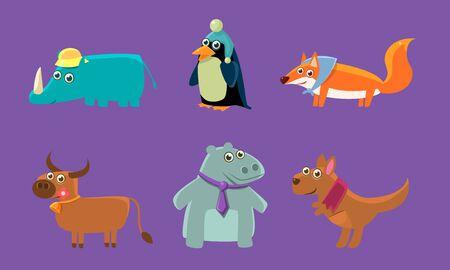 Cute Animals Set, Rhino, Penguin, Fox, Deer, Hippo, Kangaroo Vector Illustration