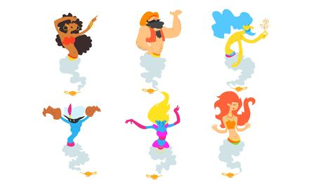 Gin Fairy Tale Cartoon Characters Set, Men and Women Coming Out from Magic Lamps Vector Illustration on White Background. Stock Illustratie