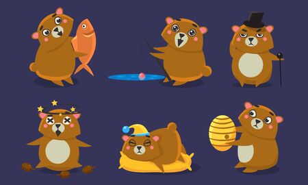 Cute Brown Guinea Pig Character Set, Funny Humanized Cavy Anima in Different Situations Cartoon Vector Illustration.