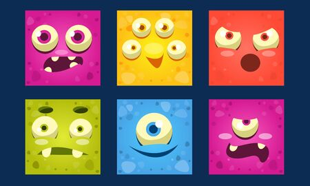Funny Monsters Set, Colorful Square Mutant Emojis, Cute Emoticons with Different Emotions Vector Illustration, Web Design.