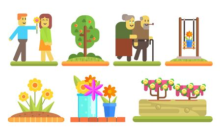 Park and Garden Elements Set, Young Man Giving Flower to Girl, Senior Couple Walking Together, Flowerbeds and Pots with Blooming Flowers Vector Illustration on White Background. Illustration