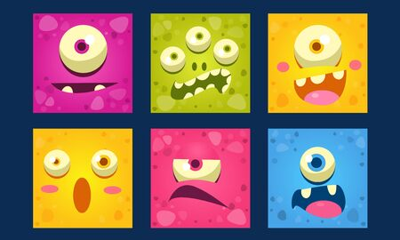 Cute Monsters Emoticons Set, Colorful Mutant Emojis with Funny Faces Vector Illustration, Web Design.