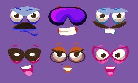Funny Emojis with Different Emotive Feelings Set, Emoticons with Various Face Expression Vector Illustration on Purple Background. 向量圖像