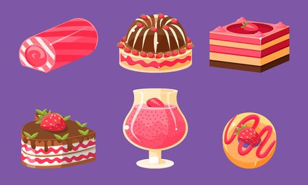 Delicious Sweets and Desserts Set, Cake, Cupcake, Roll Cake, Pudding Vector Illustration on Purple Background.