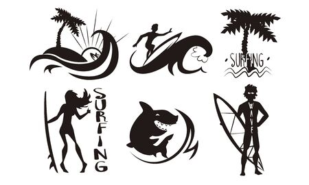 Surfers, Waves, Palms Silhouettes Set, Man and Woman Riding Waves with Surfboards, Summer Extreme Water Sport Elements Vector Illustration  イラスト・ベクター素材